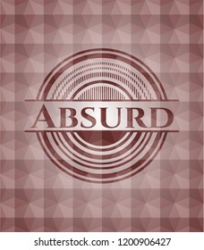 Absurd red emblem with geometric pattern background. Seamless.