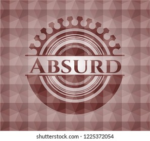 Absurd red seamless emblem or badge with abstract geometric pattern background.