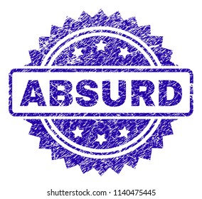 ABSURD stamp watermark with grainy style. Blue vector rubber seal print of ABSURD title with dust texture.