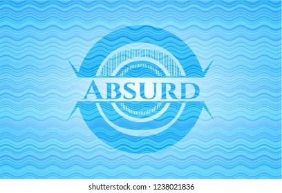 Absurd water concept badge background.