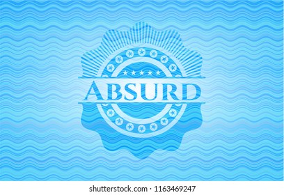 Absurd water wave representation style emblem.