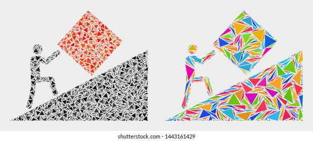 Absurd work collage icon of triangle elements which have various sizes and shapes and colors. Geometric abstract vector illustration of absurd work.
