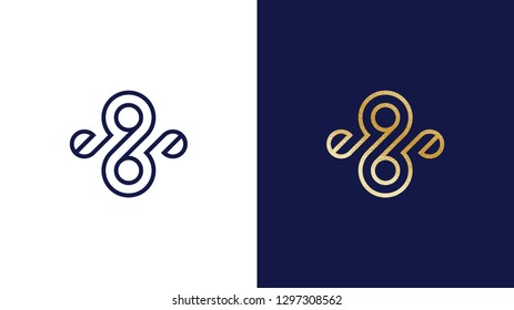 Abtract eight and nine Logotype template, positive and negative variant, corporate identity for brands, exclusive product logo, gold texture, vector design