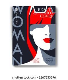 Abtract female close-up portrait.  Woman magazine cover design. Vector illustration