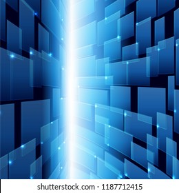 Abtract Technology background, blue cyber concept, Sci fi futuristic background, Vector illustration