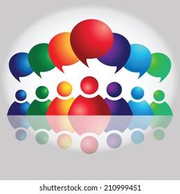 Abtsract concept of people metting. Talking. Social media.