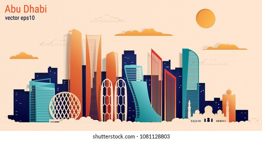 Abu Dhabi city colorful paper cut style, vector stock illustration. Cityscape with all famous buildings. Skyline Abu Dhabi city composition for design