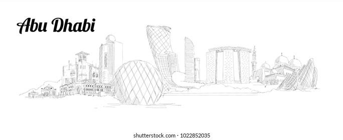 ABU DHABI city hand drawing panoramic illustration artwork