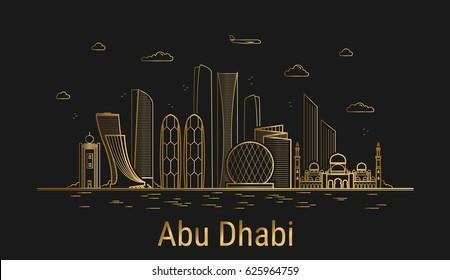 Abu Dhabi city line art, golden architecture vector illustration, skyline city, all famous buildings.