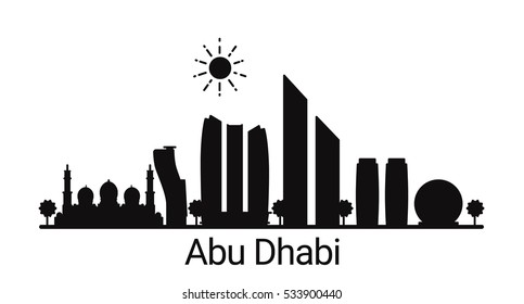 Abu Dhabi city outline skyline. All Abu Dhabi buildings - customizable objects, so you can simple change skyline composition. Minimal design.