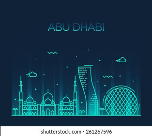 Abu Dhabi City skyline detailed silhouette. Trendy vector illustration, line art style.
