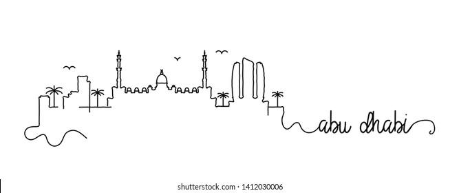 Abu Dhabi City Skyline Doodle Sign