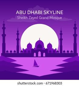 Abu Dhabi City Skyline. Sheikh Zayed Grand Mosque