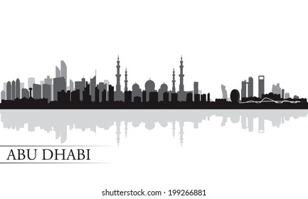 Abu Dhabi city skyline silhouette background, vector illustration