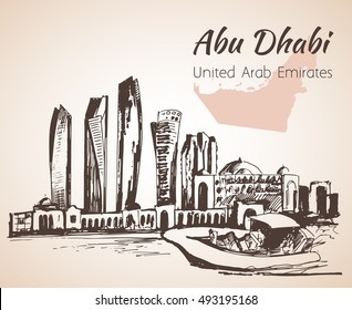 Abu Dhabi cityscape sketch - UAE. Isolated on white background. United Arab Emirates
