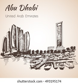 Abu Dhabi cityscape sketch - UAE. Isolated on white background