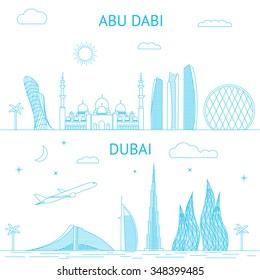 Abu Dhabi and Dubai skyline illustration in line style.
