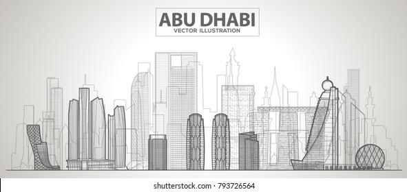 Abu Dhabi line city skyline on a white background. Flat vector illustration. Business travel and tourism concept with modern buildings. Image for banner or web site