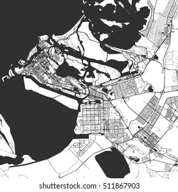 Abu Dhabi Monochrome Map Artprint, Vector Outline Version, ready for color change, Separated On White