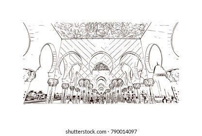 Abu Dhabi, Sheikh Zayed Mosque, hand drawn illustration, sketch vector. Eid Mubarak and Ramadan Kareem greeting.