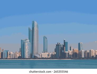 Abu Dhabi Skyline Buildings Vector