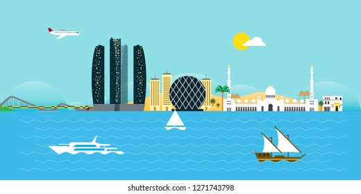 Abu Dhabi Skyline Flat Design