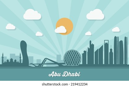 Abu Dhabi skyline - flat design - vector illustration