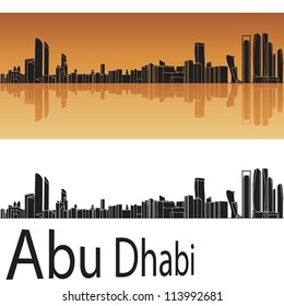 Abu Dhabi skyline in orange background in editable vector file