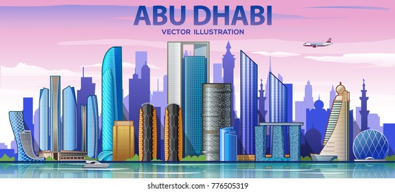Abu Dhabi skyline with panorama in sky background. Vector Illustration. Business travel and tourism concept with modern buildings. Image for banner or web site