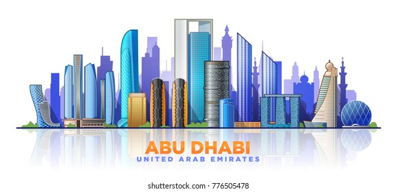 Abu Dhabi skyline with panorama in sky background. Vector Illustration.