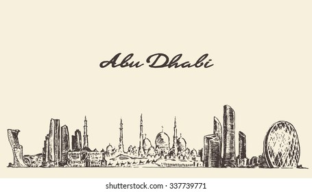 Abu Dhabi skyline, vector engraved illustration, hand drawn