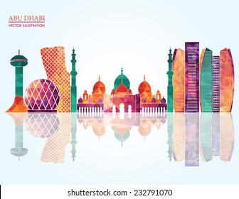 Abu Dhabi skyline - vector illustration