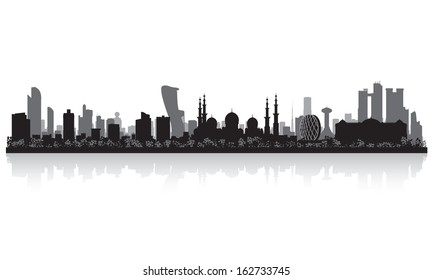 Abu Dhabi UAE city skyline vector silhouette illustration