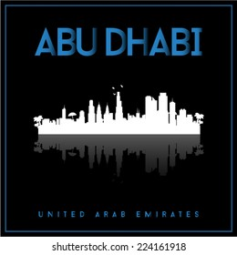 Abu Dhabi, United Arab Emirates, skyline silhouette vector design on parliament blue and black background.