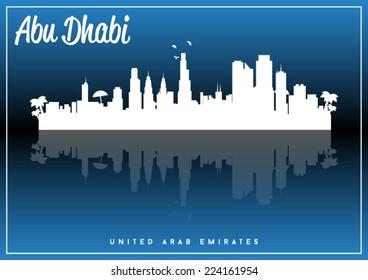 Abu Dhabi, United Arab Emirates, skyline silhouette vector design on parliament blue and black background.
