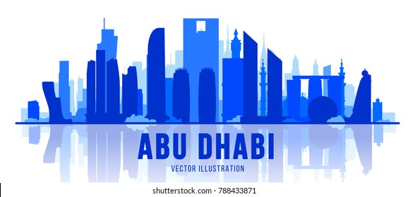 Abu Dhabi (United Arab Emirates) city silhouette skyline on whithe background. Vector Illustration. Business travel and tourism concept with modern buildings. Image for banner or web site.