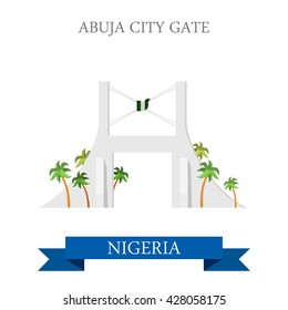 Abuja City Gate in Nigeria. Flat cartoon style historic sight showplace attraction web site vector illustration. World countries cities vacation travel sightseeing Africa collection.