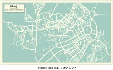 Abuja Nigeria City Map in Retro Style. Outline Map. Vector Illustration.