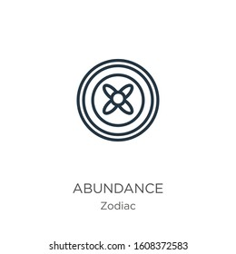 Abundance icon. Thin linear abundance outline icon isolated on white background from zodiac collection. Line vector sign, symbol for web and mobile