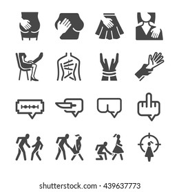 Abuse & Harassment icons set. Included the icons as sexually assaulted, sexual harassment, social issues, problem, inappropriate, crime and more.