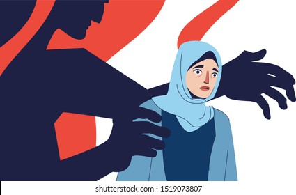 Abused young woman. Violence against women, rape concept. Vector illustration, sexual harassment over women, flat design concept, hands stretch. Illustration of a Muslim woman