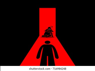 Abusive husband beating his wife. Vector artwork depicts domestic problem, exploitation of women, sexual abuse, and home violence.