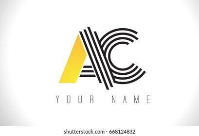 AC Black Lines Letter Logo. Creative Line Letters Design Vector Template.