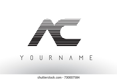 AC Black and White Stripes Letter Logo Design with Horizontal Lines.