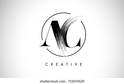 AC Brush Stroke Letter Logo Design. Black Paint Logo Leters Icon with Elegant Circle Vector Design.