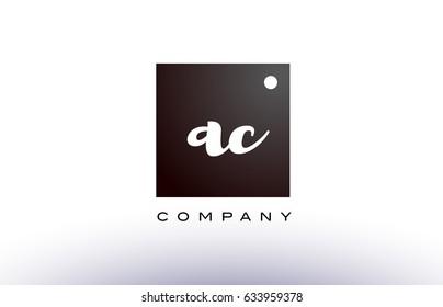 AC A C black white handwritten handwriting alphabet company letter logo square design template dot dots creative abstract