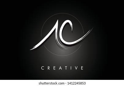 AC A C Brushed Vector Letter Logo Design with Creative Modern Brush Lettering Texture and Hexagonal Shape. Brush Letters Design Logo Vector Illustration.