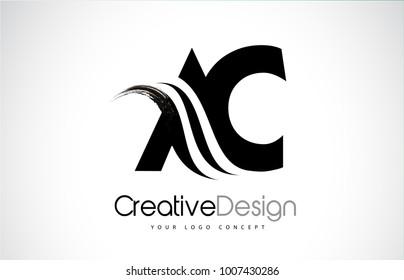 AC A C Creative Modern Black Letters Logo Design with Brush Swoosh