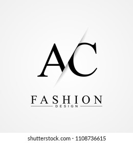 AC A C cutting and linked letter logo icon with paper cut in the middle. Creative monogram logo design. Fashion icon design template.