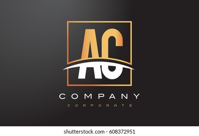 AC A C Golden Letter Logo Design with Swoosh and Rectangle Square Box Vector Design.